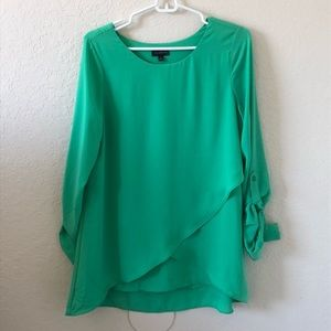The Limited Green Blouse with Asymmetrical Detail